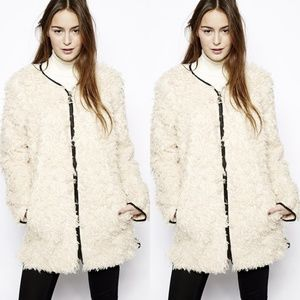 FCUK Santorini Sherpa Collarless Coat Cream Piping
